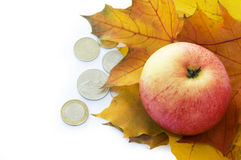 Apple, autumn leaves and coins. Royalty Free Stock Images