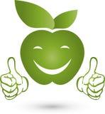 Apple avec des mains et le sourire, mangeant le conseil et le logo de vegan Photo stock