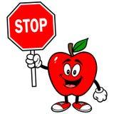 Apple avec l'arrêt signent illustration stock