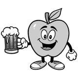 Apple avec l'illustration de bière Photo libre de droits