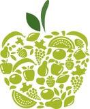 Apple avec la configuration de fruits et légumes sur le blanc illustration de vecteur