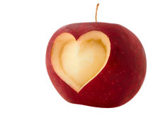 Apple avec la forme de coeur Image stock