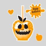 Apple avec la sucrerie douce de caramel orange sur des bâtons Dessert heureux de Halloween Illustration de vecteur sur le fond bl illustration de vecteur