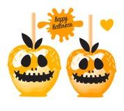 Apple avec la sucrerie douce de caramel orange sur des bâtons Dessert heureux de Halloween Illustration de vecteur sur le fond bl illustration libre de droits