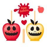 Apple avec la sucrerie douce de caramel rouge et jaune sur des bâtons Dessert heureux de Halloween Illustration de vecteur sur le illustration de vecteur