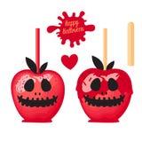 Apple avec la sucrerie douce de caramel rouge sur des bâtons Dessert heureux de Halloween Illustration de vecteur sur le fond bla illustration libre de droits