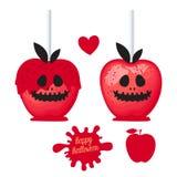 Apple avec la sucrerie douce de caramel rouge sur des bâtons Dessert heureux de Halloween Illustration de vecteur sur le fond bla illustration stock