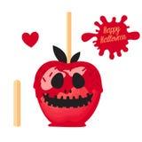 Apple avec la sucrerie douce de caramel rouge sur des bâtons Dessert heureux de Halloween Illustration de vecteur sur le fond bla illustration de vecteur