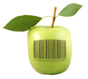Apple avec le code à barres Photo stock