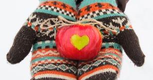 Apple avec le coeur dans des mains en hiver Amour Image libre de droits