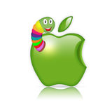 Apple avec le ver de terre Photos libres de droits