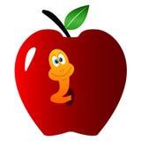 Apple avec un ver de terre illustration de vecteur