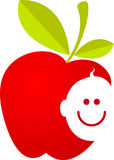 Apple with baby smiling face. Illustration art of a apple with baby smiling face on isolated background Stock Image