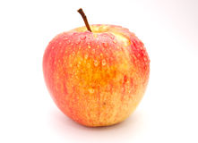 apple background delicious drops fresh has healthy isolated organic red shadow slight stem water white 库存照片