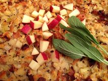 Apple Bacon Turkey Stuffing Stock Image