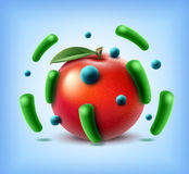 Apple with bacteria Stock Images