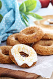 Apple baked donuts with glaze Stock Photo