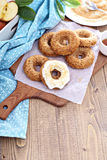Apple baked donuts with glaze Royalty Free Stock Image