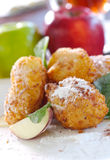 Apple balls with coco. Apple pieces covered with coconut pie Royalty Free Stock Images