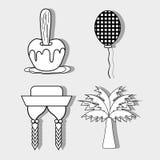 Apple, balon, kapelusz, warkocze i palmowego festa junina ustalona ikona, ilustracja wektor