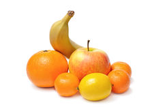 Apple banana orange mandarin lemon fruits Stock Photo