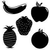 Apple banana orange strawberry pineapple silhouett Stock Images