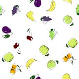 bright and colored fruit and vegetables seamless pattern stock illustration