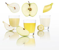 Apple , banana, pear, juice in glass isolated on white Royalty Free Stock Photo