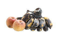Apple and banana withered, Isolated on white background Royalty Free Stock Photos