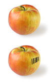 Apple with barcode Stock Images