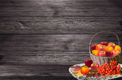 Apple Basket and berries of rowanberry Stock Photo