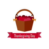 Apple basket on Thanksgiving Day. vector. flat Royalty Free Stock Image