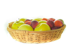Apple basket. On white background Royalty Free Stock Photo