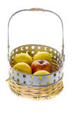 Apple basket. On white background Royalty Free Stock Image