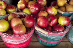 Apple baskets. In a grouping at a farm stand Stock Images