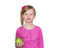 apple beautiful girl green Η έννοια της υγιούς κατανάλωσης, η διατροφή των παιδιών Στοκ Φωτογραφία