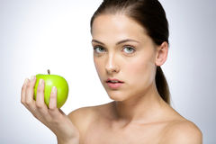 apple beautiful girl green Στοκ Εικόνα