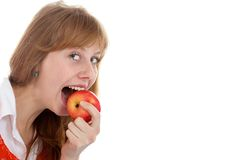 Apple and beauty girl Royalty Free Stock Photos