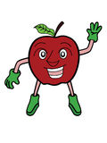 Apple-Beeldverhaal van de Fruit het Golvende Hand Stock Afbeelding