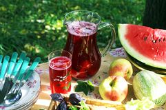 Apple-berry cooled compote. A glass jug with cooled apple-berry compote on a picnic table Royalty Free Stock Photography
