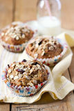 Apple and berry wholewheat crumble muffin Stock Photos