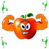Apple, bicipite, forza, muscolo, fumetto su un fondo bianco Immagine Stock Libera da Diritti