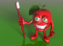Apple with a big grin Stock Photo