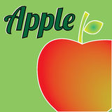 Apple. Big red apple on green background Royalty Free Stock Images
