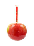 Apple with birthday candle Royalty Free Stock Image