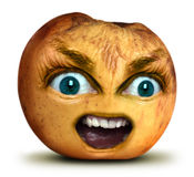 Apple bites. Rotten apple with big blue eyes with nasty breath Royalty Free Stock Images