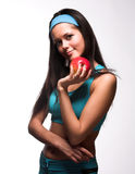 apple biting red sporty woman Στοκ Εικόνα