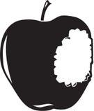 Apple Bitten Illustration. Line Art Illustration of a Bitten Into Apple stock illustration