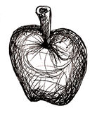 Apple Black and White Sketch Royalty Free Stock Images