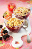 Apple and blackberry crumble Royalty Free Stock Photography